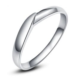 Alliance de mariage homme - Or blanc - Diamant