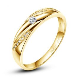 Alliance Étoile - Alliance or jaune diamants - Alliance Femme
