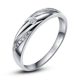 Alliance Étoile - Alliance or blanc diamants - Alliance Homme