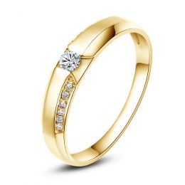 Achat alliance mariage - Alliance Solitaire Homme - Or jaune, diamants