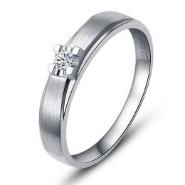 Alliance solitaire or - Alliance Femme - Or blanc - Diamant