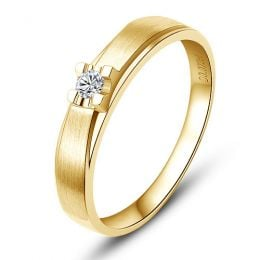 Alliance solitaire or - Alliance Homme - Or jaune - Diamant