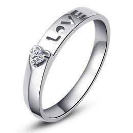 Alliance Love & Coeur de diamant - Or blanc 750/1000 - Pour Femme