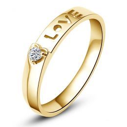 Alliance Love & Coeur de diamant - Or jaune 750/1000 - Pour Femme