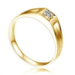 Alliance de type solitaire - Alliance Femme en or jaune et diamant