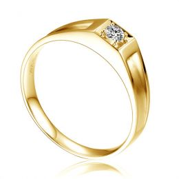 Alliance de type solitaire - Alliance Homme en or jaune et diamant