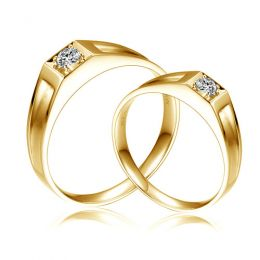 Alliances de type solitaire - Alliances Duo en or jaune et diamants