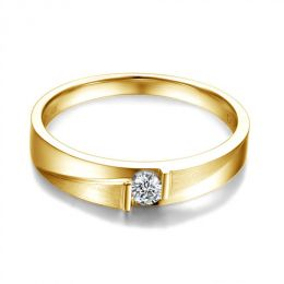 Alliance diamant sertissage demi clos - Métal or jaune 18cts - Homme