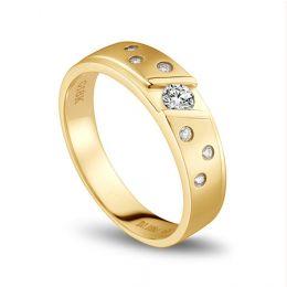 Bague alliance constellation diamantée - En or jaune 18cts - Femme
