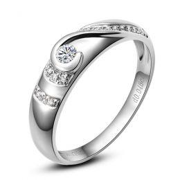 Alliance Femme solitaire diamants - Bague moderne Or blanc 18cts