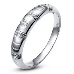 Bague homme - Or blanc 18 carats et Diamants