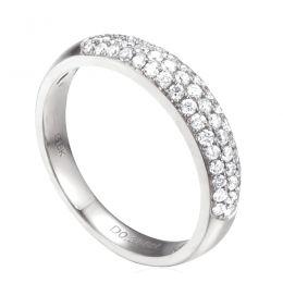 Alliance bombée Or blanc 18 carats. 49 diamants 0.388ct