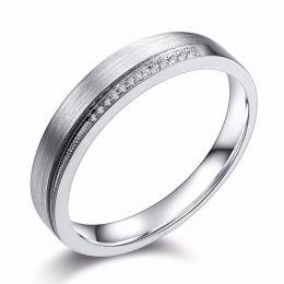 Alliance Femme une pointe d'amour. Or blanc, diamants