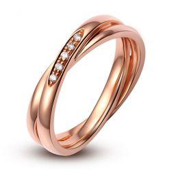 Alliance 2 anneaux or rose Femme - Diamants