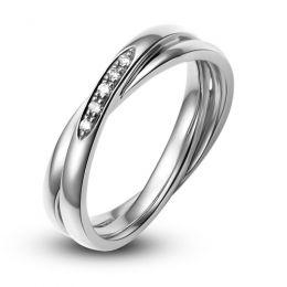 Alliance 2 anneaux or blanc Femme - Diamants