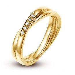 Alliance 2 anneaux or jaune Femme - Diamants