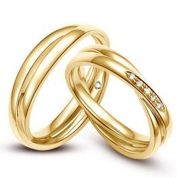 Duo d'alliances 2 anneaux or jaune - Diamants