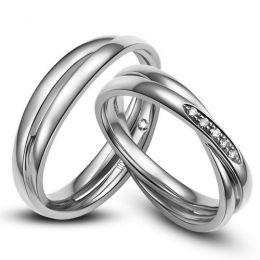 Duo d'alliances 2 anneaux or blanc - Diamants
