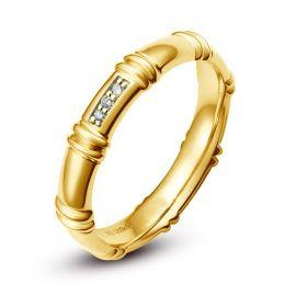 Alliance en or jaune 18 carats - Alliance diamants pour Femme