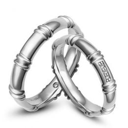 Alliances en or blanc 18 carats - Alliances diamants pour couple