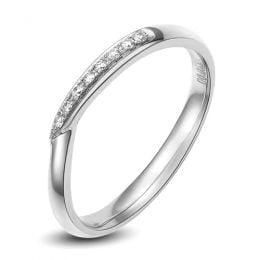 Alliance bague facettée - Alliance diamant Femme - Or blanc