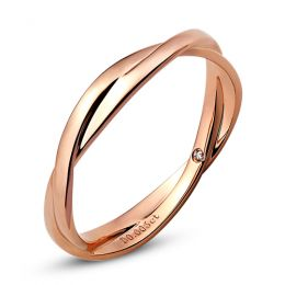 Alliance 2 anneaux - Alliance Femme - Or rose - Diamant