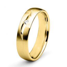 Alliance diamant or jaune - Lignes pures et découpées - Femme
