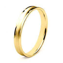 Alliance Homme en or jaune et diamant - Incurvation précieuse