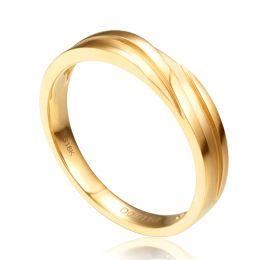 Bague alliance homme lignes obliques - Or jaune, diamant