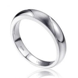 Alliance biseautée homme - Or blanc - diamant serti clos