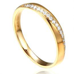 Alliance Femme Or jaune 18cts, diamants. Ondulation