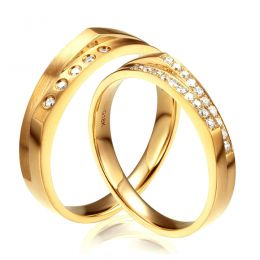 Alliances Homme et Femme en Or Jaune 18cts et Diamants