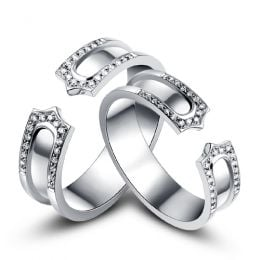 Alliances or blanc originales - Anneaux discontinus Couple - Diamants