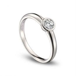 Bague alliance solitaire - Or blanc 18 cts - Diamant serti de 0.30ct