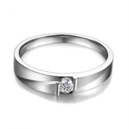 Alliance diamant sertissage demi clos - Métal or blanc 18cts - Femme