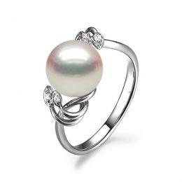 Bague fleur - Or blanc, Diamants - Perle de culture, Eau douce