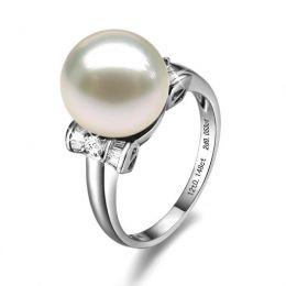 Bague or perle de culture - Perle blanche Chine - Or blanc, diamants