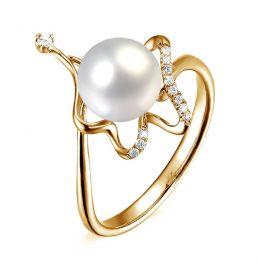 Bague orfèvrerie d'art or jaune - Perle eau douce blanche - Diamants