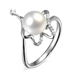 Bague en perle - Modèle d'orfèvre en or blanc et diamants