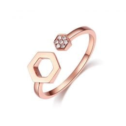 Bague ouverte hexagone. Or rose 18cts, diamants 0.030ct