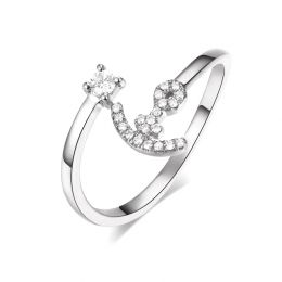 Bague enclume de bateau. Or blanc 18cts, diamants 0.11ct