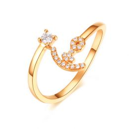 Bague enclume de bateau. Or jaune 18cts, diamants 0.11ct