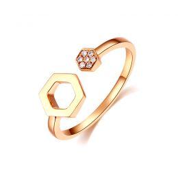 Bague ouverte hexagone. Or jaune 18cts, diamants 0.030ct