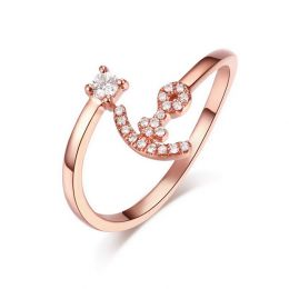 Bague enclume de bateau. Or rose 18cts, diamants 0.11ct