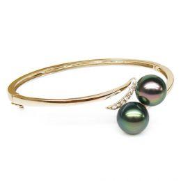 Bracelet jonc rigide or jaune - Diamants pavés - 2 perles de Tahiti