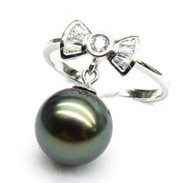 Bague noeud papillon - Perle de Tahiti mobile - Or blanc, diamants