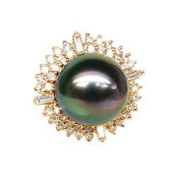 Bague auréolée de diamants - Perle de Tahiti paon rosée - Or jaune