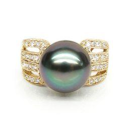 Bague de joaillerie - Luxe - Perle de Tahiti - Or jaune, diamants