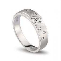 Bague alliance constellation diamantée - En or blanc 18cts - Homme