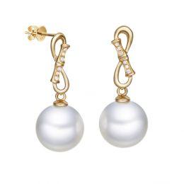 Boucles d'oreilles pendantes Bambuseae - Or jaune, diamants et perles